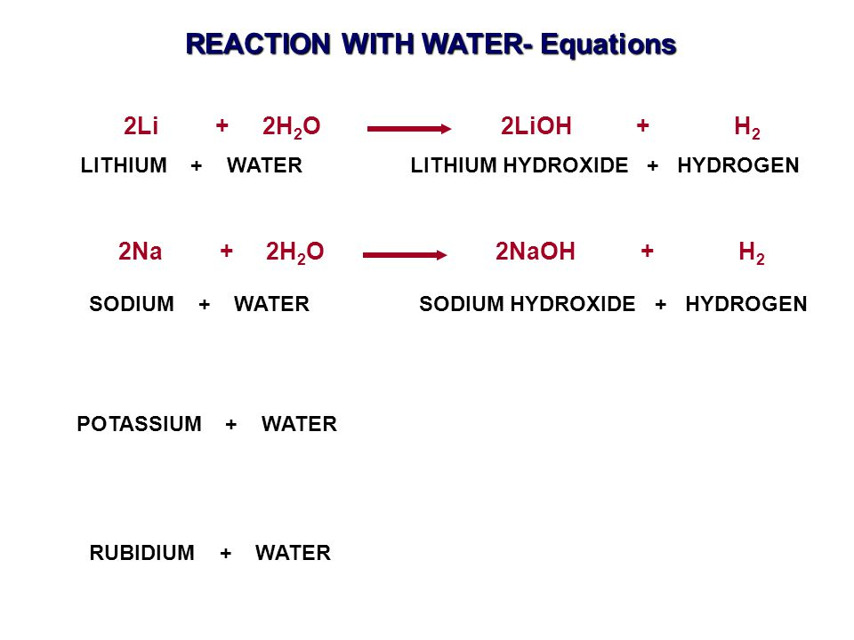 2Li + 2H 2 O 2LiOH + H 2 2Na + 2H 2 O 2NaOH + H 2 POTASSIUM + WATER RUBIDIUM + WATER LITHIUM + WATER LITHIUM HYDROXIDE + HYDROGEN SODIUM + WATER SODIUM HYDROXIDE + HYDROGEN REACTION WITH WATER- Equations