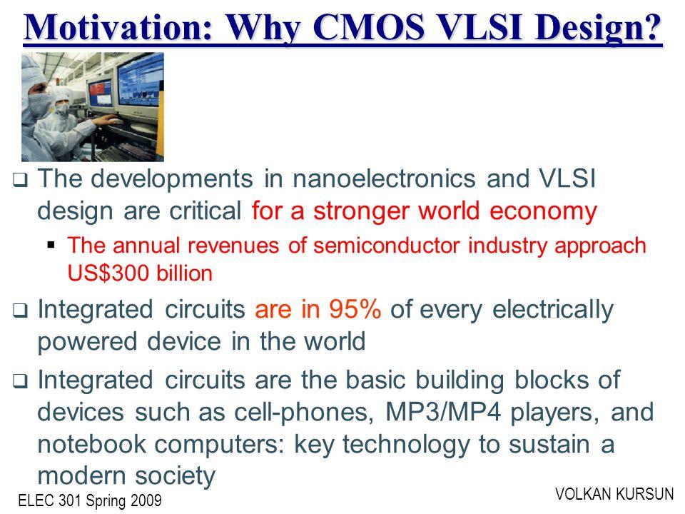 ELEC 301 Spring 2009 VOLKAN KURSUN Motivation: Why CMOS VLSI Design.