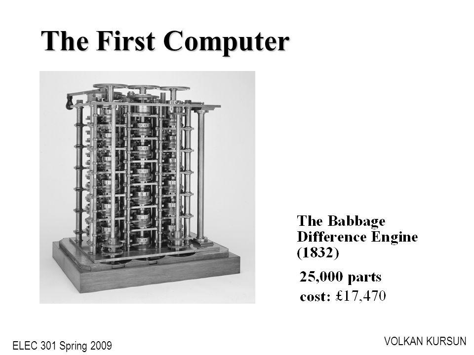 ELEC 301 Spring 2009 VOLKAN KURSUN The First Computer