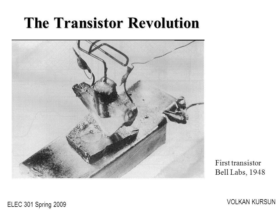 ELEC 301 Spring 2009 VOLKAN KURSUN The Transistor Revolution First transistor Bell Labs, 1948