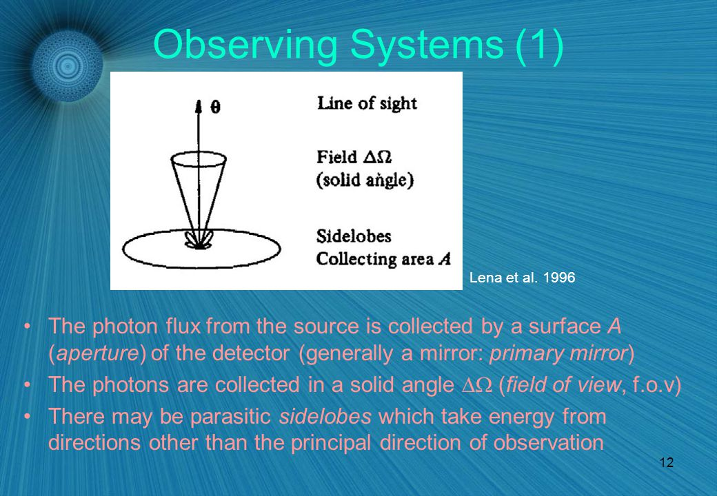 12 Observing Systems (1) The photon flux from the source is collected by a surface A (aperture) of the detector (generally a mirror: primary mirror) The photons are collected in a solid angle  (field of view, f.o.v) There may be parasitic sidelobes which take energy from directions other than the principal direction of observation Lena et al.