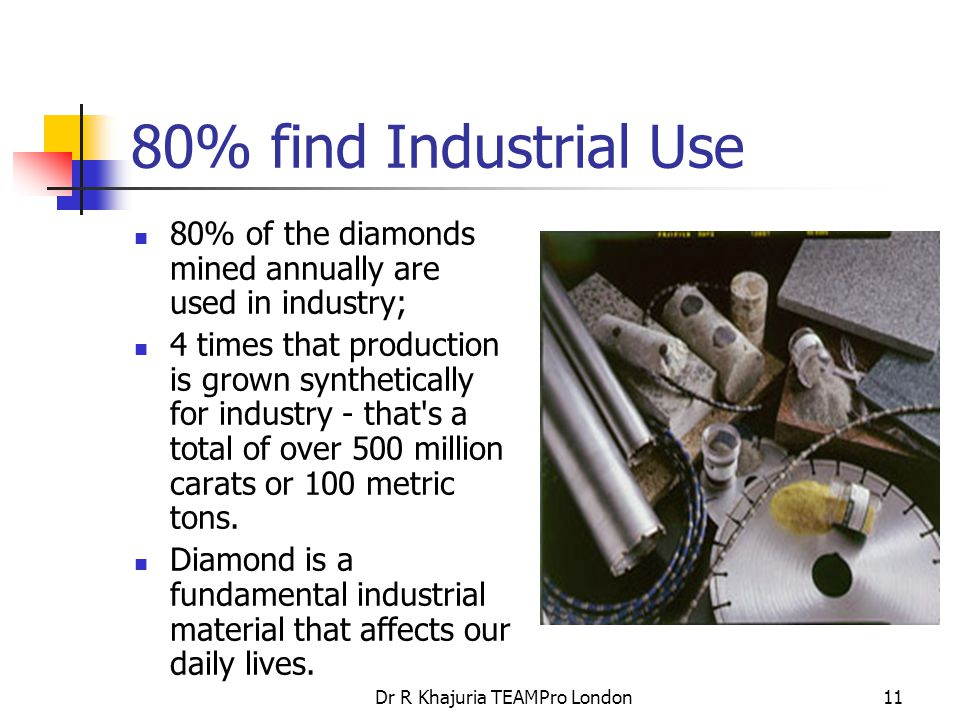 Dr R Khajuria TEAMPro London11 80% find Industrial Use 80% of the diamonds mined annually are used in industry; 4 times that production is grown synthetically for industry - that s a total of over 500 million carats or 100 metric tons.