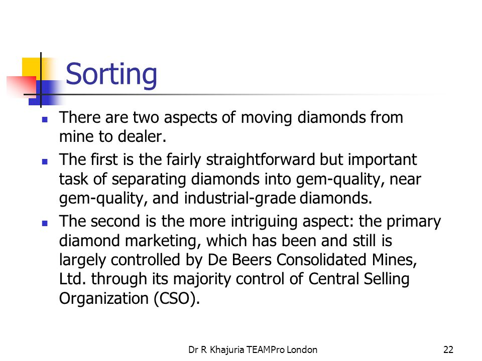 Dr R Khajuria TEAMPro London22 Sorting There are two aspects of moving diamonds from mine to dealer.