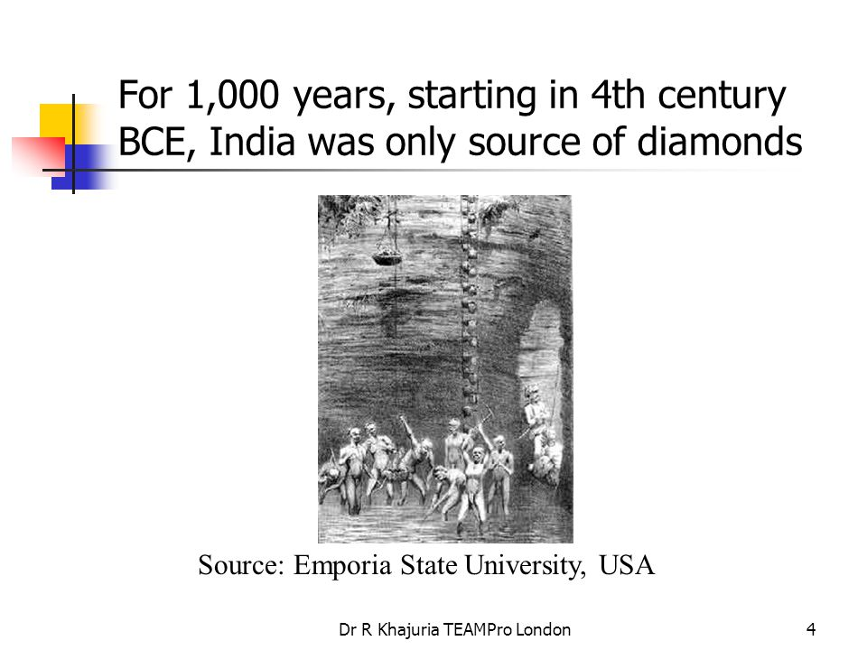 Dr R Khajuria TEAMPro London25 Diamond Pricing After great swings in diamond prices, the Diamond Trading Corporation (DTC) was set up by De Beers in 1934 to handle the actual sales of diamonds.