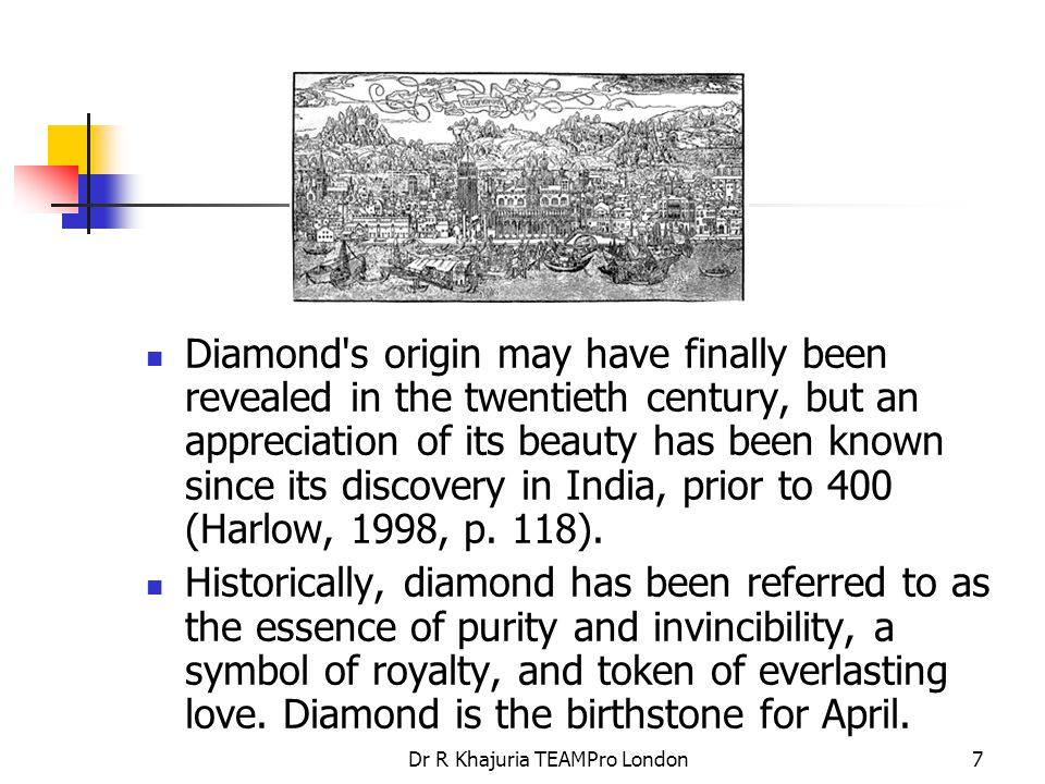 Dr R Khajuria TEAMPro London28 South Africa Story The story of diamonds in South Africa begins between December 1866 and February 1867, when 15-year-old Erasmus Jacobs found a transparent stone on his father s farm, on the south bank of the Orange River.