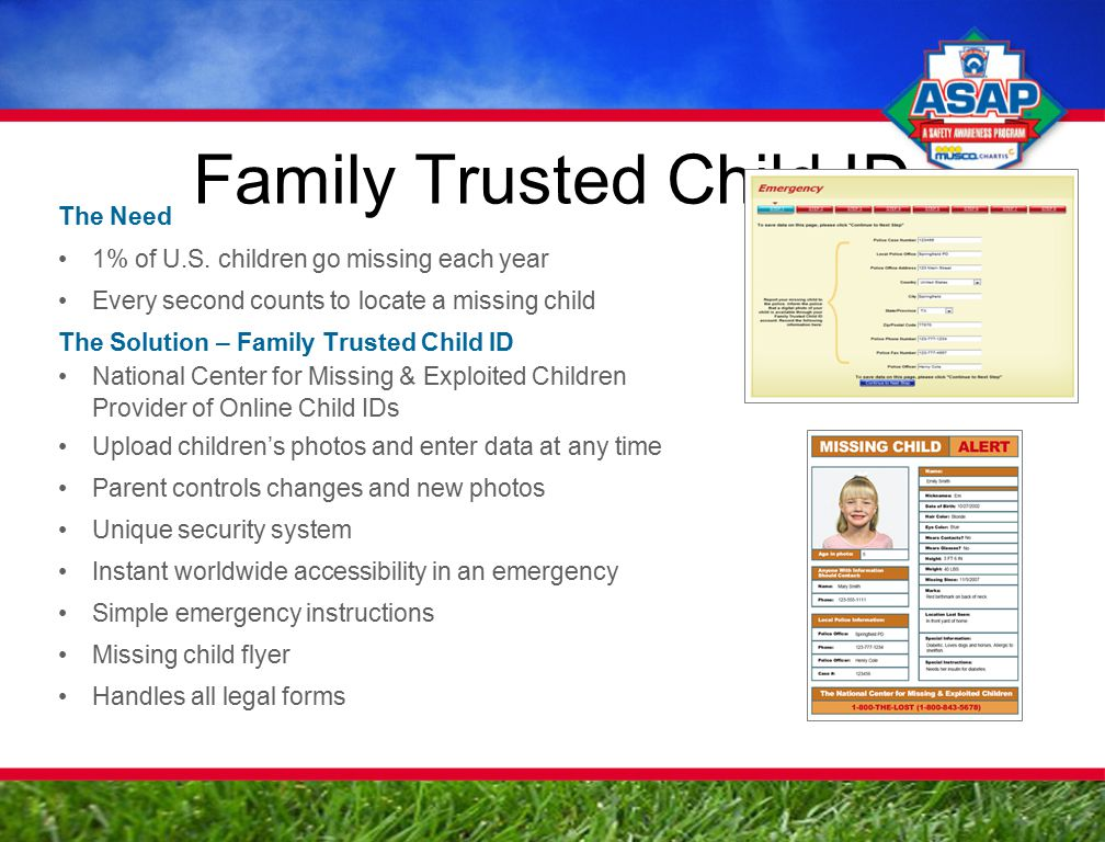 Family Trusted Child ID The Need 1% of U.S.