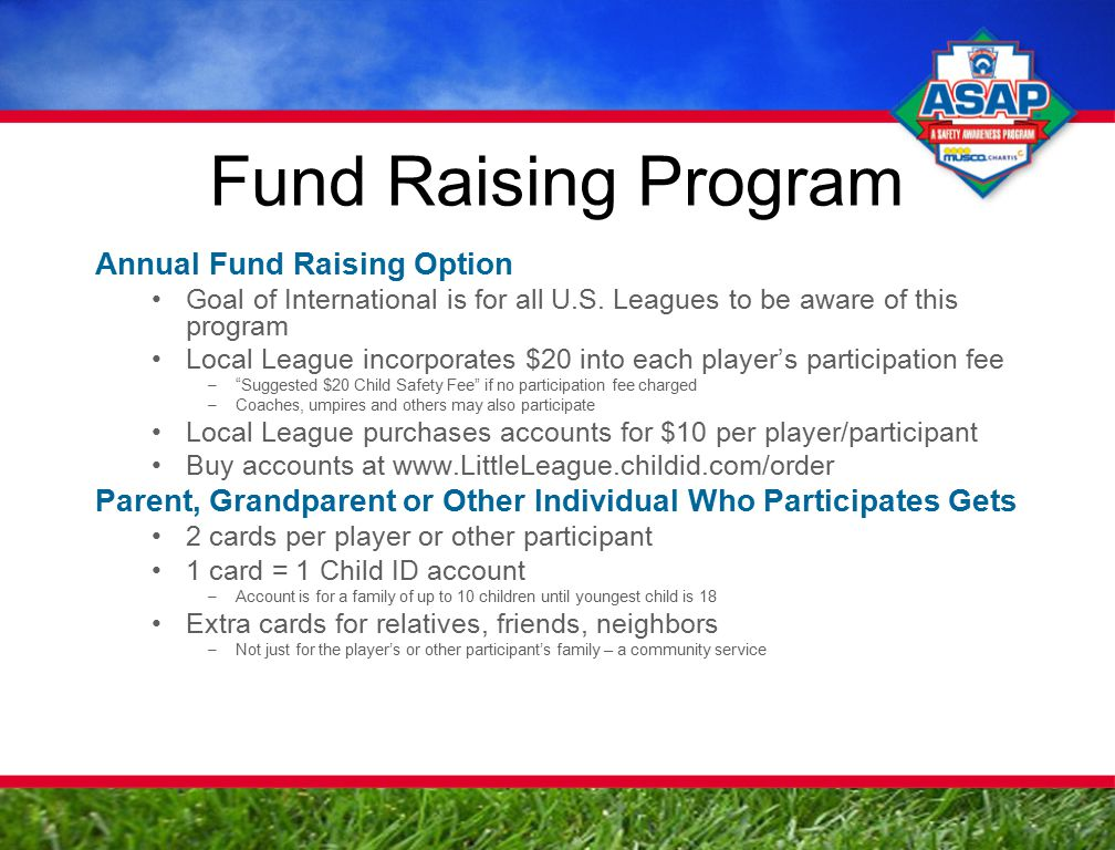 Fund Raising Program Annual Fund Raising Option Goal of International is for all U.S.
