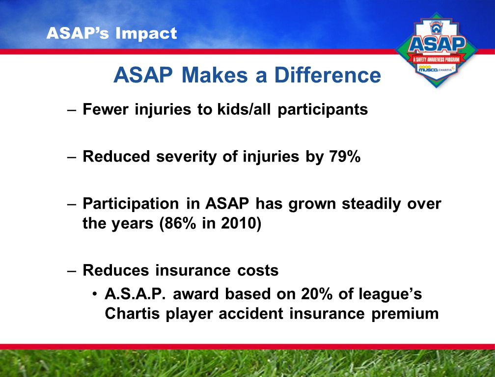 ASAP Makes a Difference –Fewer injuries to kids/all participants –Reduced severity of injuries by 79% –Participation in ASAP has grown steadily over the years (86% in 2010) –Reduces insurance costs A.S.A.P.