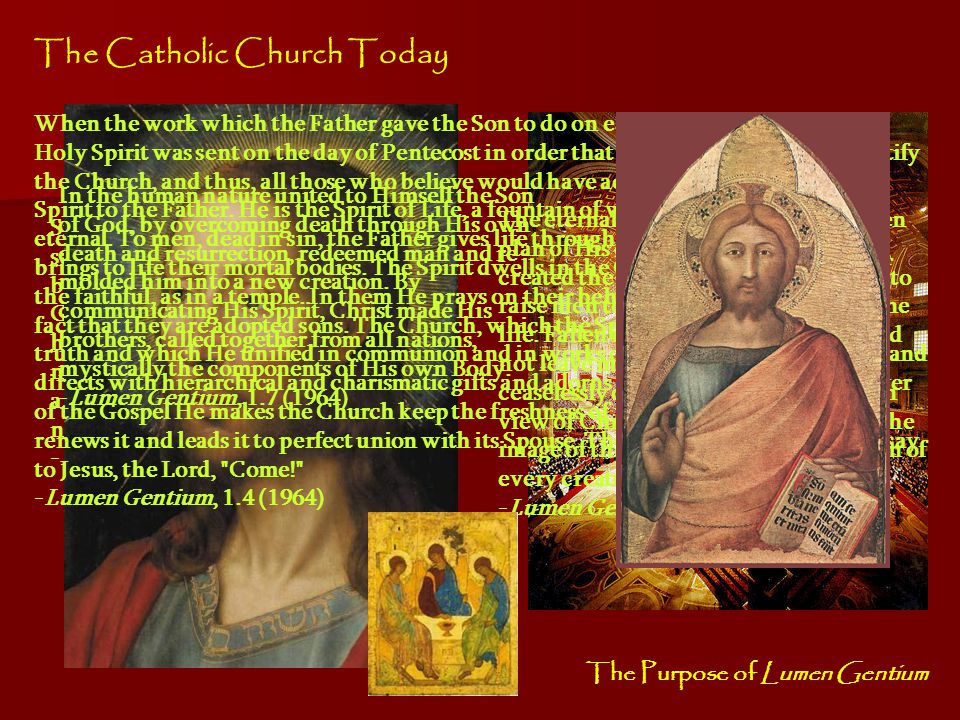 The Imagery of the Church In the same way the inner nature of the Church is now made known to us in different images taken either from tending sheep or cultivating the land, from building or even from family life and betrothals, the images receive preparatory shaping in the books of the Prophets.