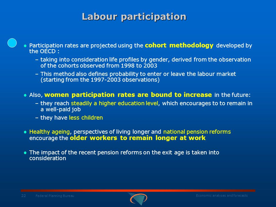Economic analyses and forecasts 22 Federal Planning Bureau Labour participation Labour participation Participation rates are projected using the cohort methodology developed by the OECD : –taking into consideration life profiles by gender, derived from the observation of the cohorts observed from 1998 to 2003 –This method also defines probability to enter or leave the labour market (starting from the 1997-2003 observations) Also, women participation rates are bound to increase in the future: –they reach steadily a higher education level, which encourages to to remain in a well-paid job –they have less children Healthy ageing, perspectives of living longer and national pension reforms encourage the older workers to remain longer at work The impact of the recent pension reforms on the exit age is taken into consideration