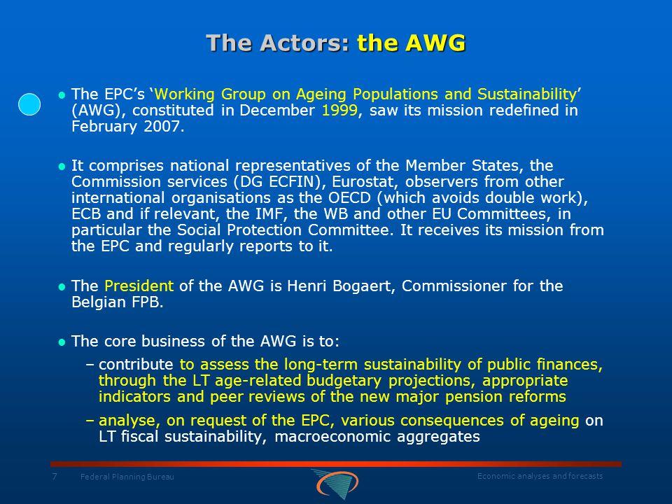 Economic analyses and forecasts 18 Federal Planning Bureau The Demographic Evolutions: Belgium / European Union Total Population and Age Structure millions - Eurostat AWG baseline T otal 0-14 15-64 65+ 20042050200420502004205020042050 Belgium10,410,81,81,66,86,31,83,0 EU15382,7388,362,452,7255,1221,365,2114,2 EU1074,165,512,48,651,737,810,119,1 EU25456,8453,874,860,4306,8259,175,3133,3
