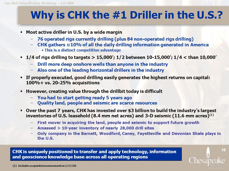 Gas Well Deliquification Workshop – 2-27-2006 10 Why is CHK the #1 Driller in the U.S..