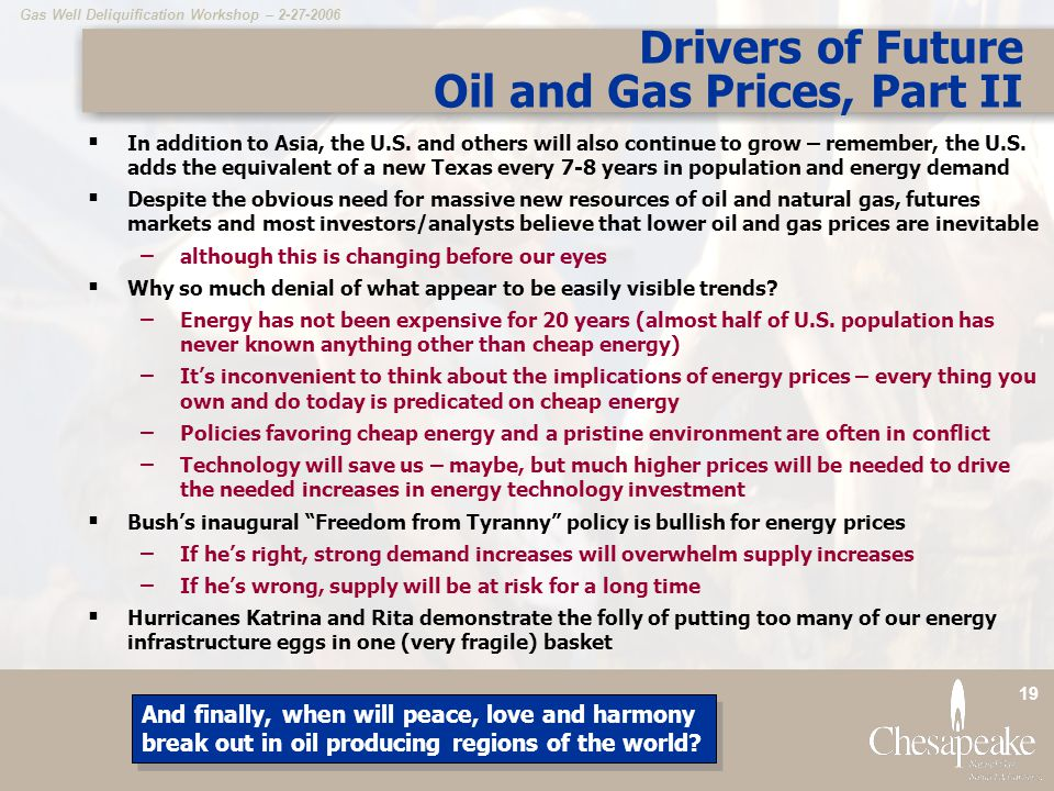 Gas Well Deliquification Workshop – 2-27-2006 19 Drivers of Future Oil and Gas Prices, Part II  In addition to Asia, the U.S.