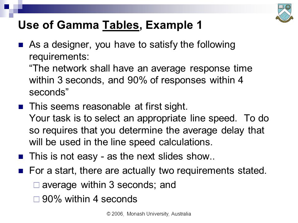 © 2006, Monash University, Australia Use of Gamma Tables, Example 1 As a designer, you have to satisfy the following requirements: The network shall have an average response time within 3 seconds, and 90% of responses within 4 seconds This seems reasonable at first sight.