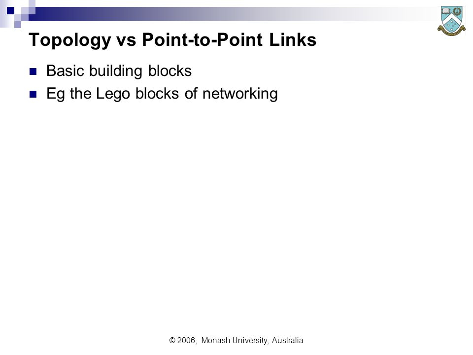 © 2006, Monash University, Australia Topology vs Point-to-Point Links Basic building blocks Eg the Lego blocks of networking