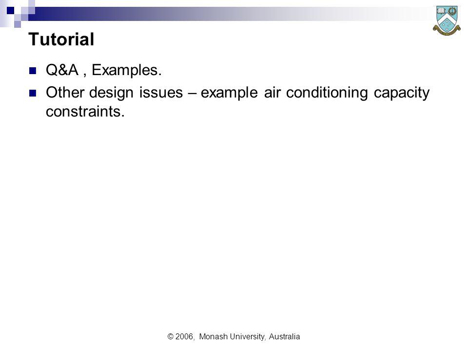 © 2006, Monash University, Australia Tutorial Q&A, Examples.
