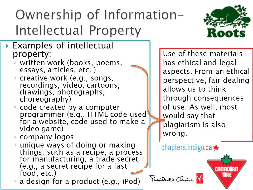 Examples of intellectual property: ◦ written work (books, poems, essays, articles, etc. ) ◦ creative work (e.g., songs, recordings, video, cartoons,