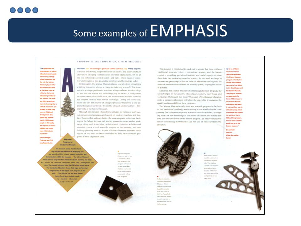 Some examples of EMPHASIS