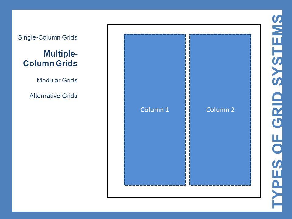 Column 1 TYPES OF GRID SYSTEMS Single-Column Grids Multiple- Column Grids Modular Grids Alternative Grids Column 2