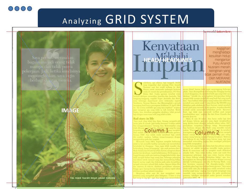 Analyzing GRID SYSTEM Putu Anandi Nusraini dengan pakaian tradisional HEAD/ HEADLINES Column 1 Column 2 IMAGE