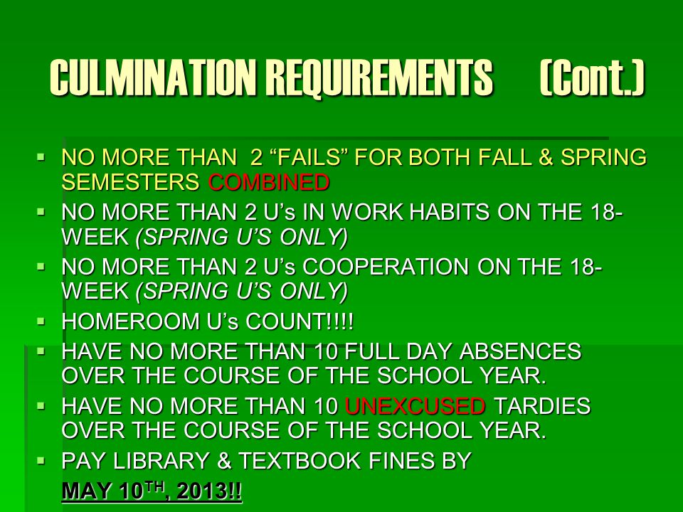 CULMINATION REQUIREMENTS (Cont.)  NO MORE THAN 2 FAILS FOR BOTH FALL & SPRING SEMESTERS COMBINED  NO MORE THAN 2 U's IN WORK HABITS ON THE 18- WEEK (SPRING U'S ONLY)  NO MORE THAN 2 U's COOPERATION ON THE 18- WEEK (SPRING U'S ONLY)  HOMEROOM U's COUNT!!!.
