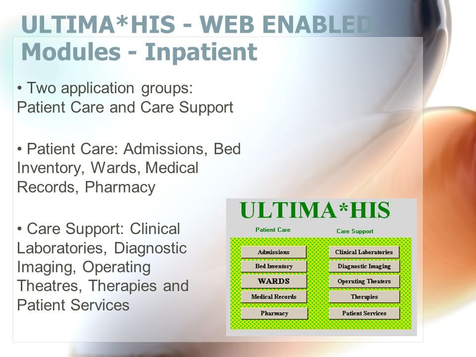 ULTIMA*HIS - WEB ENABLED Modules - Sign on 'About' Web/intranet model Access for doctors Access for nurses Access for technologists Access for hospital administrators Access to a demo system