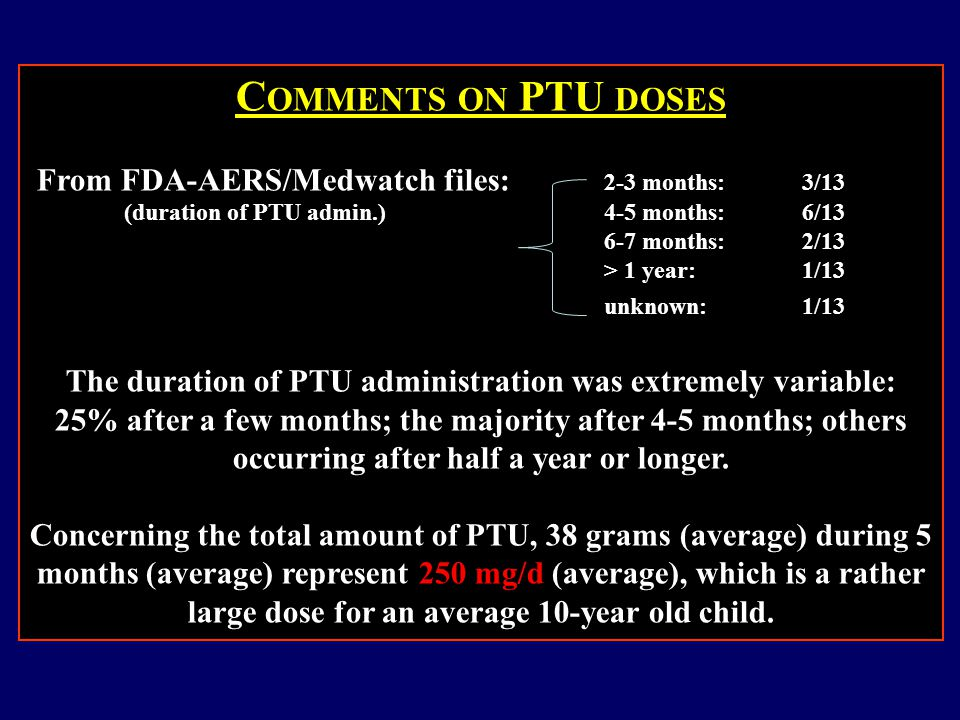 C OMMENTS ON PTU DOSES From FDA-AERS/Medwatch files: 2-3 months: 3/13 (duration of PTU admin.)4-5 months: 6/13 6-7 months: 2/13 > 1 year: 1/13 unknown: 1/13 The duration of PTU administration was extremely variable: 25% after a few months; the majority after 4-5 months; others occurring after half a year or longer.