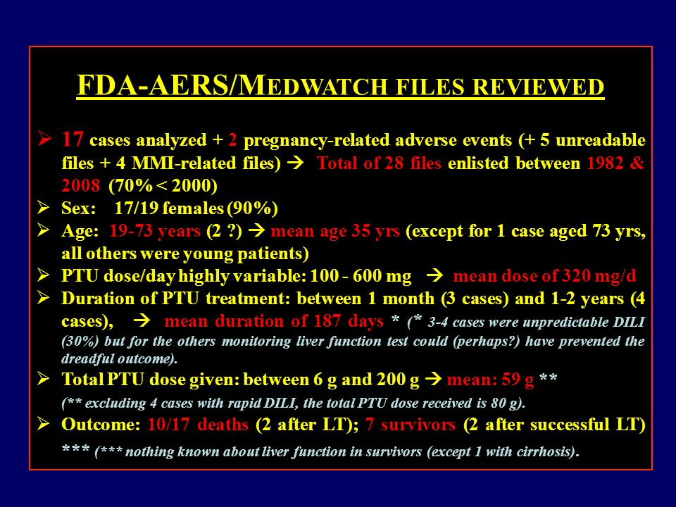 FDA-AERS/M EDWATCH FILES REVIEWED  17 cases analyzed + 2 pregnancy-related adverse events (+ 5 unreadable files + 4 MMI-related files)  Total of 28 files enlisted between 1982 & 2008 (70% < 2000)  Sex: 17/19 females (90%)  Age: 19-73 years (2 )  mean age 35 yrs (except for 1 case aged 73 yrs, all others were young patients)  PTU dose/day highly variable: 100 - 600 mg  mean dose of 320 mg/d  Duration of PTU treatment: between 1 month (3 cases) and 1-2 years (4 cases),  mean duration of 187 days * ( * 3-4 cases were unpredictable DILI (30%) but for the others monitoring liver function test could (perhaps ) have prevented the dreadful outcome).