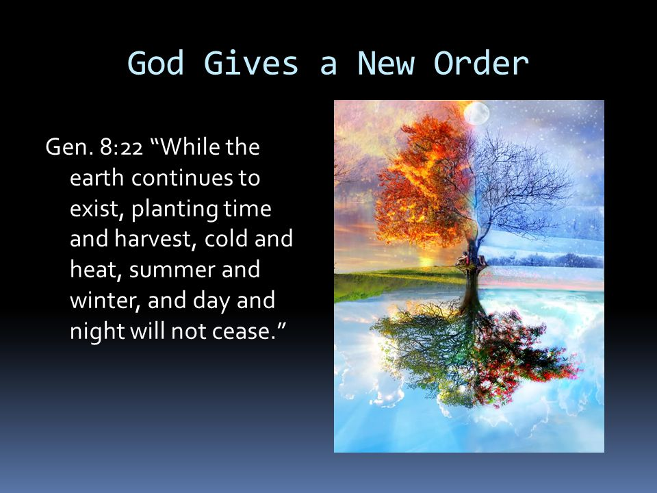 """God Gives a New Order Gen. 8:22 """"While the earth continues to exist, planting time and harvest, cold and heat, summer and winter, and day and night wi"""