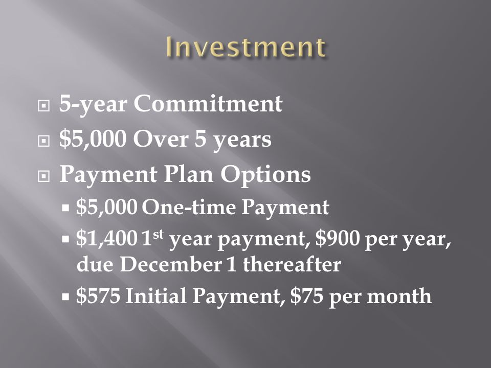  5-year Commitment  $5,000 Over 5 years  Payment Plan Options  $5,000 One-time Payment  $1,400 1 st year payment, $900 per year, due December 1 t