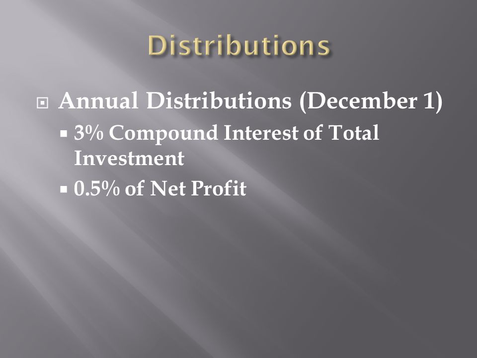  Annual Distributions (December 1)  3% Compound Interest of Total Investment  0.5% of Net Profit