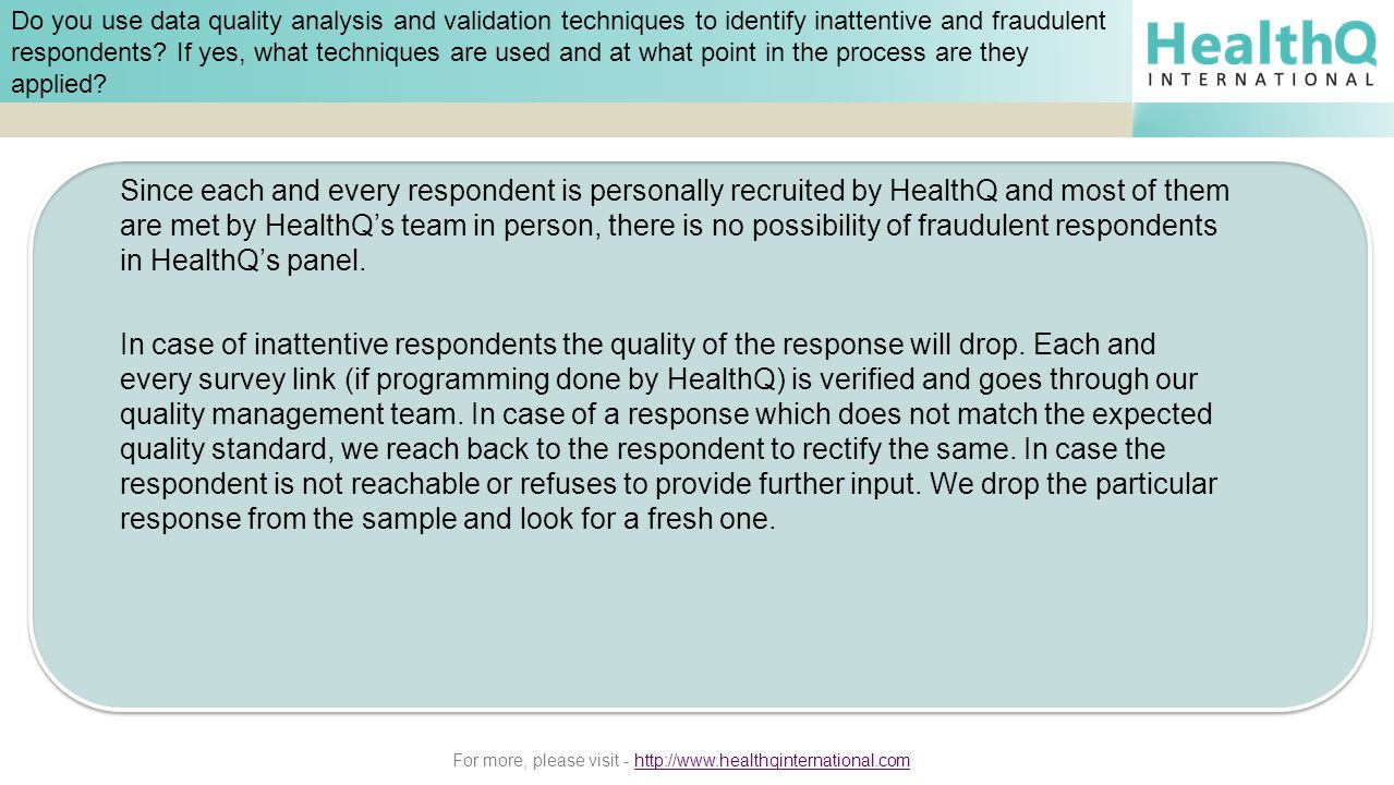 For more, please visit - http://www.healthqinternational.comhttp://www.healthqinternational.com Do you use data quality analysis and validation techni