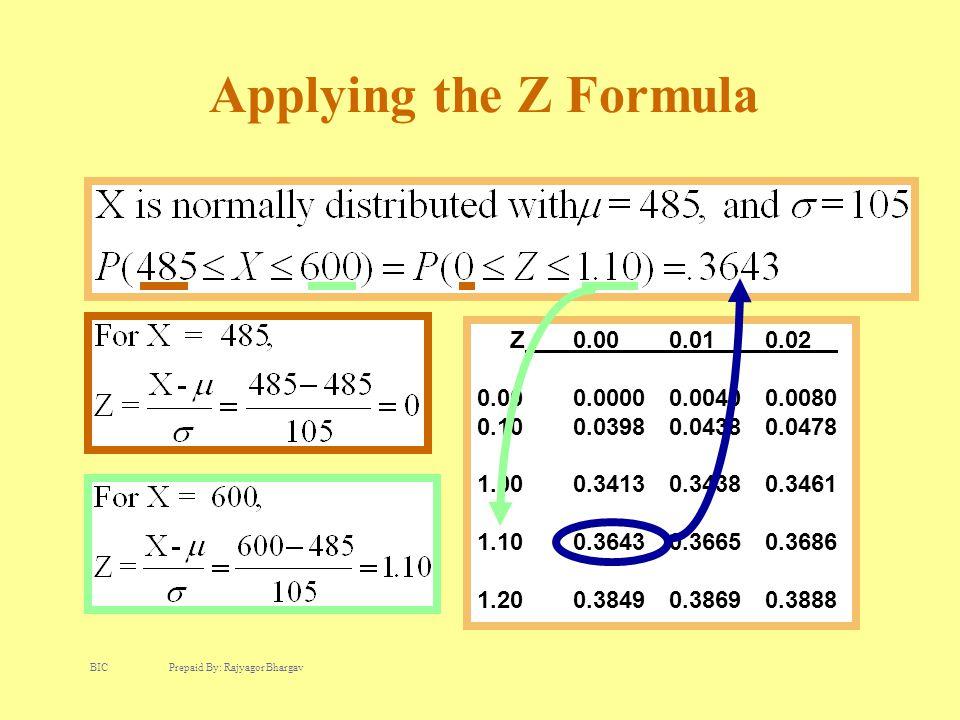 Applying the Z Formula Z0.00 0.01 0.02 0.000.00000.00400.0080 0.100.03980.04380.0478 1.000.34130.34380.3461 1.100.36430.36650.3686 1.200.38490.38690.3888 BIC Prepaid By: Rajyagor Bhargav