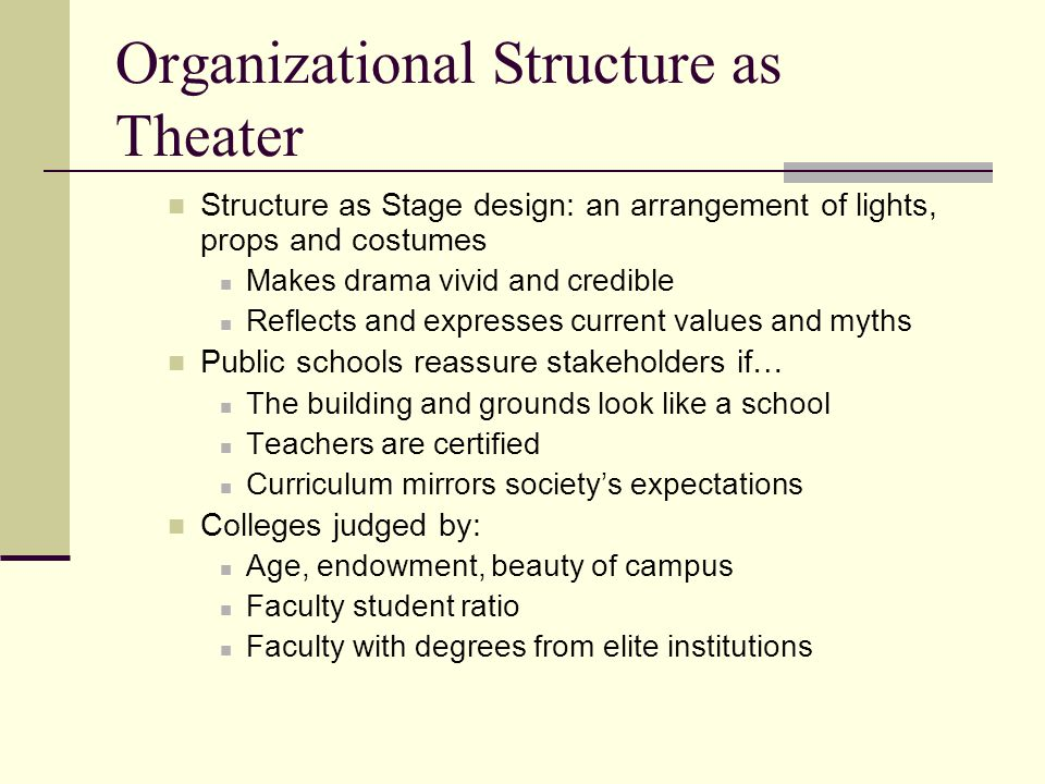 Organizational Structure as Theater Structure as Stage design: an arrangement of lights, props and costumes Makes drama vivid and credible Reflects an