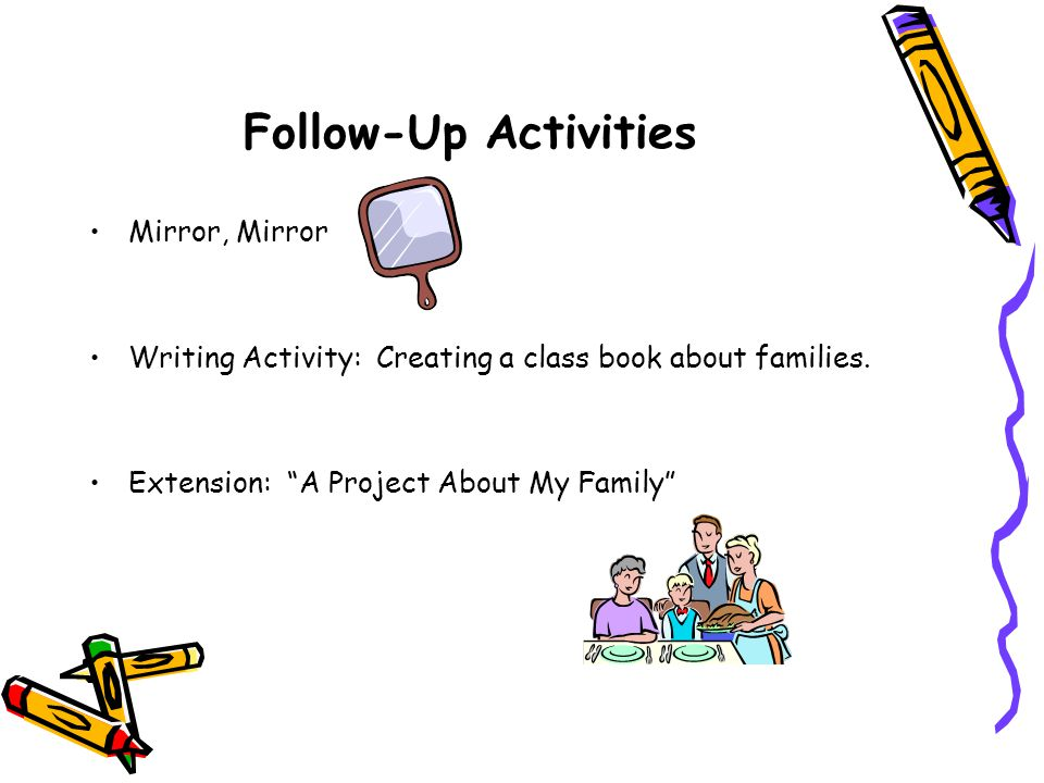 Follow-Up Activities Mirror, Mirror Writing Activity: Creating a class book about families.