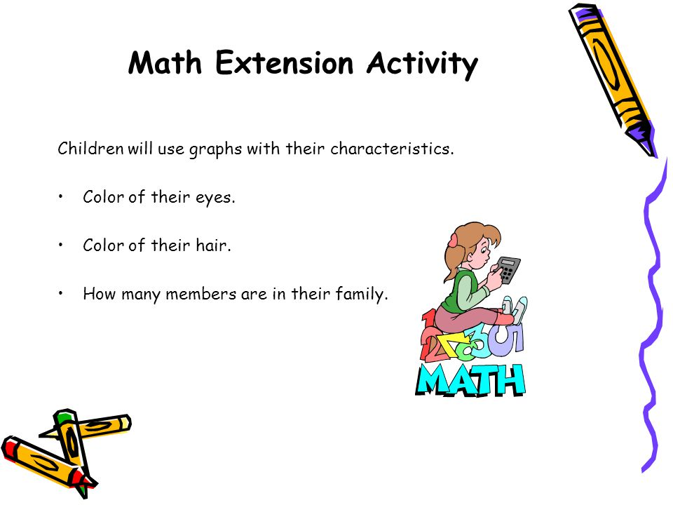 Math Extension Activity Children will use graphs with their characteristics.