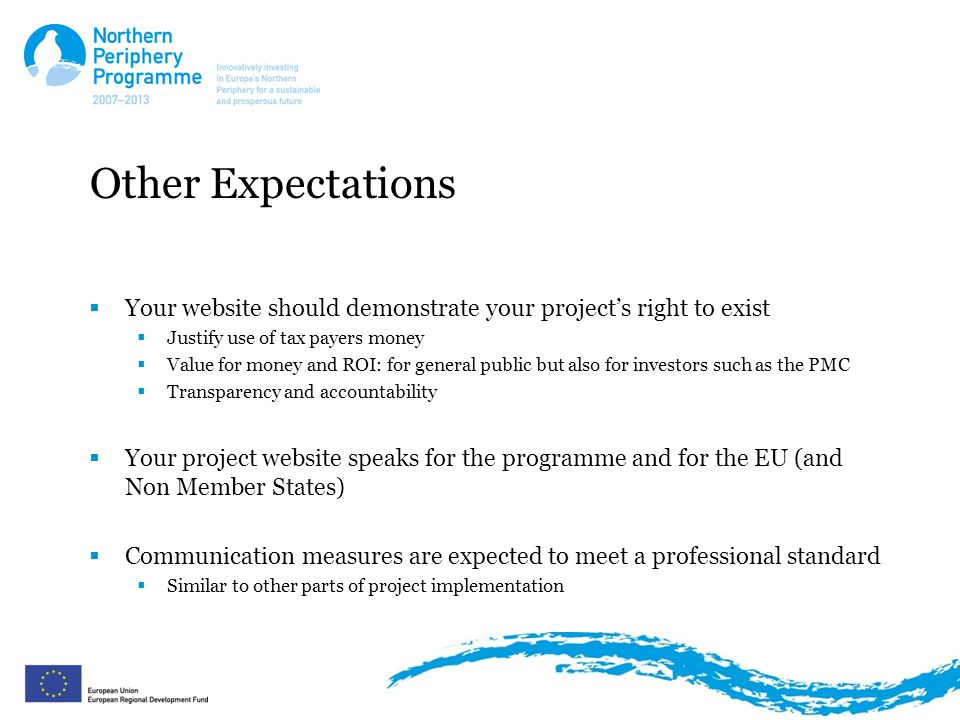 Other Expectations  Your website should demonstrate your project's right to exist  Justify use of tax payers money  Value for money and ROI: for general public but also for investors such as the PMC  Transparency and accountability  Your project website speaks for the programme and for the EU (and Non Member States)  Communication measures are expected to meet a professional standard  Similar to other parts of project implementation