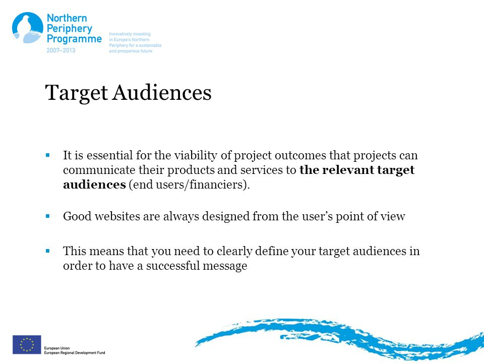 Target Audiences  It is essential for the viability of project outcomes that projects can communicate their products and services to the relevant target audiences (end users/financiers).