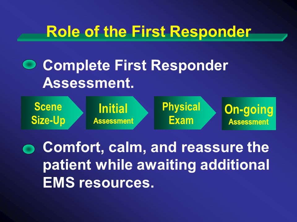 Role of the First Responder Complete First Responder Assessment.