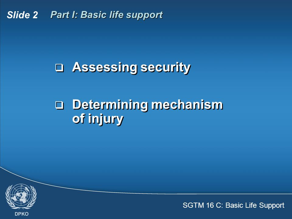 Slide 2 Part I: Basic life support  Assessing security  Determining mechanism of injury  Assessing security  Determining mechanism of injury