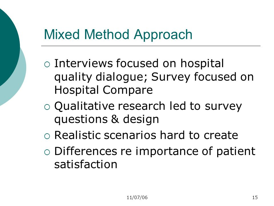 11/07/0615 Mixed Method Approach  Interviews focused on hospital quality dialogue; Survey focused on Hospital Compare  Qualitative research led to survey questions & design  Realistic scenarios hard to create  Differences re importance of patient satisfaction