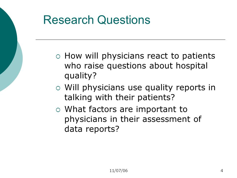 11/07/064 Research Questions  How will physicians react to patients who raise questions about hospital quality.