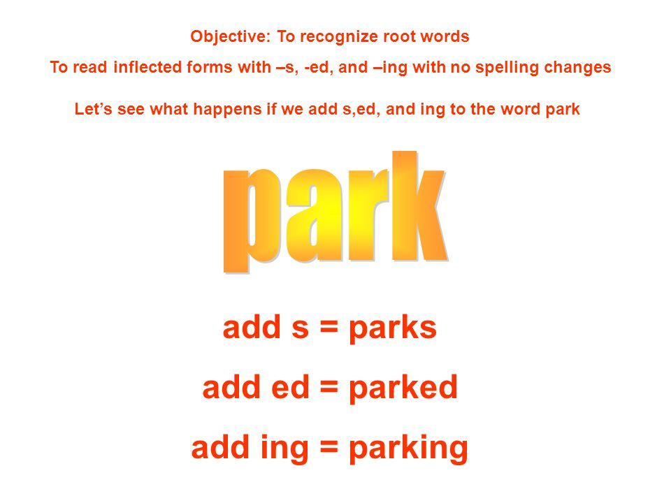 Objective: To recognize root words To read inflected forms with –s, -ed, and –ing with no spelling changes Let's see what happens if we add s,ed, and ing to the word park add s = parks add ed = parked add ing = parking