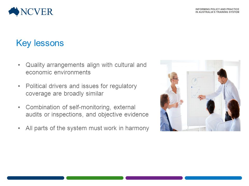 Key lessons Quality arrangements align with cultural and economic environments Political drivers and issues for regulatory coverage are broadly similar Combination of self-monitoring, external audits or inspections, and objective evidence All parts of the system must work in harmony
