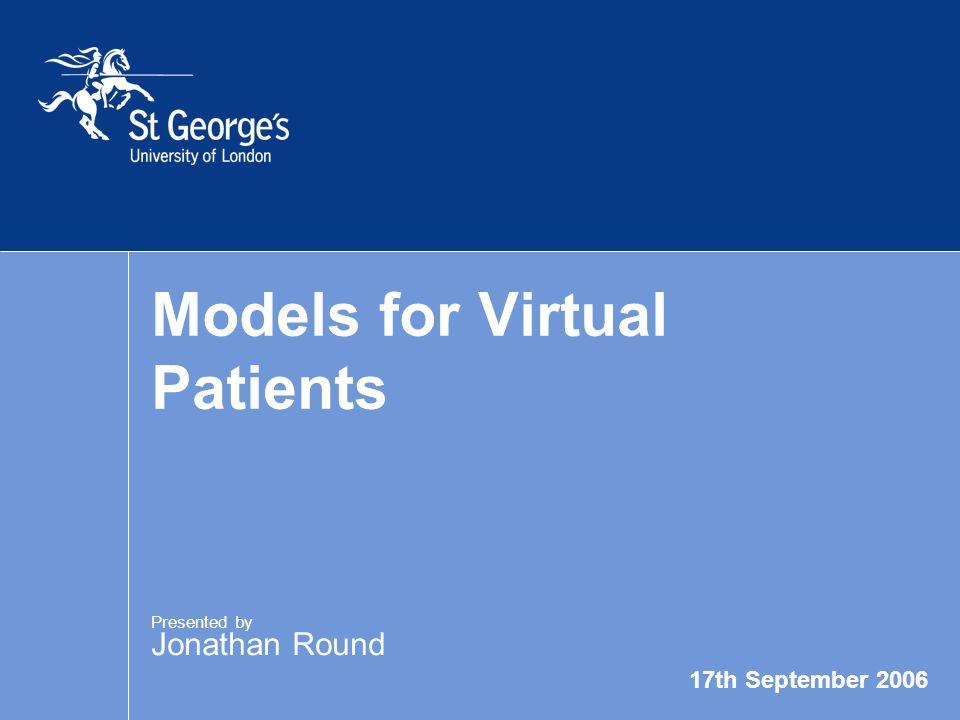 17th September 2006 Models for Virtual Patients Thanks to… More at… Chara Balasubramaniam Arnold Somasunderam Ferhal Utku Terry Poulton www.etu.sgul.ac.uk/virtualpatients/ examples.htm