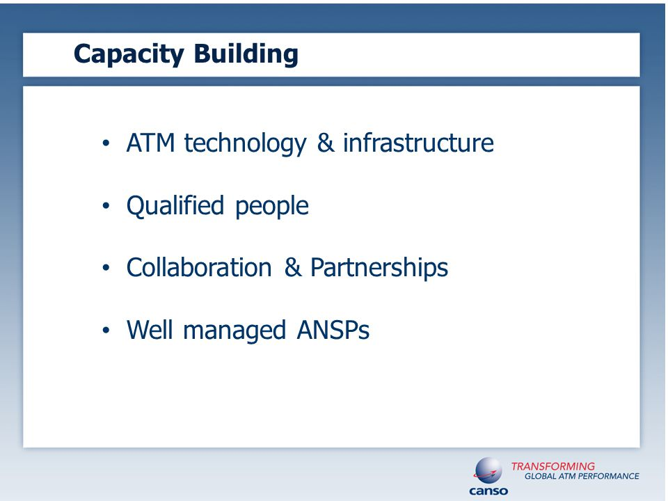 Capacity Building ATM technology & infrastructure Qualified people Collaboration & Partnerships Well managed ANSPs