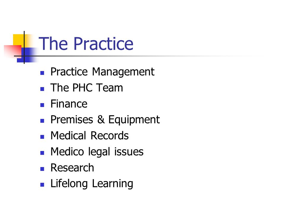 The Practice Practice Management The PHC Team Finance Premises & Equipment Medical Records Medico legal issues Research Lifelong Learning