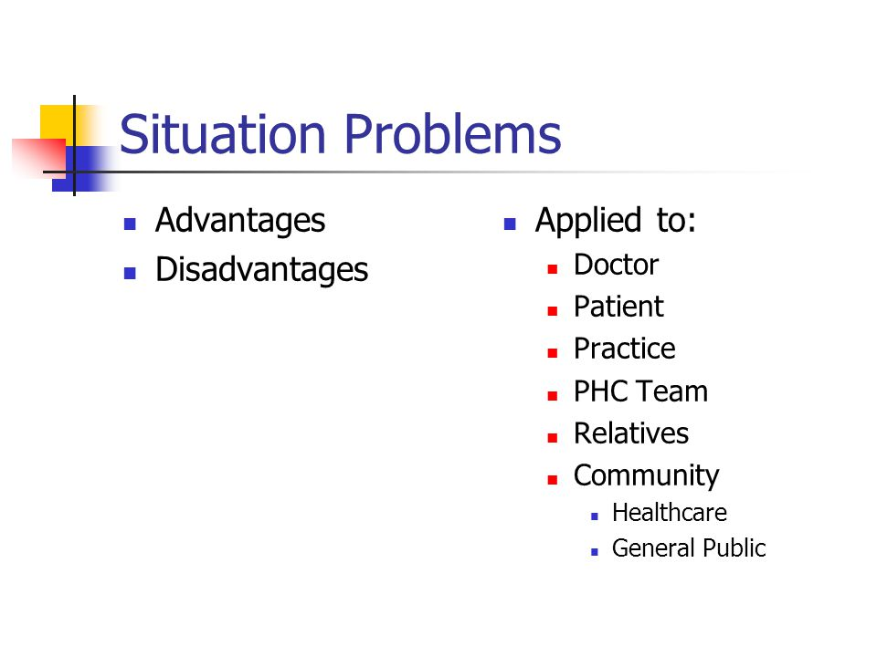 Situation Problems Advantages Disadvantages Applied to: Doctor Patient Practice PHC Team Relatives Community Healthcare General Public