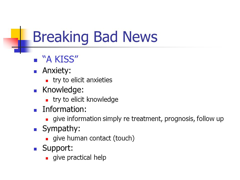 Breaking Bad News A KISS Anxiety: try to elicit anxieties Knowledge: try to elicit knowledge Information: give information simply re treatment, prognosis, follow up Sympathy: give human contact (touch) Support: give practical help
