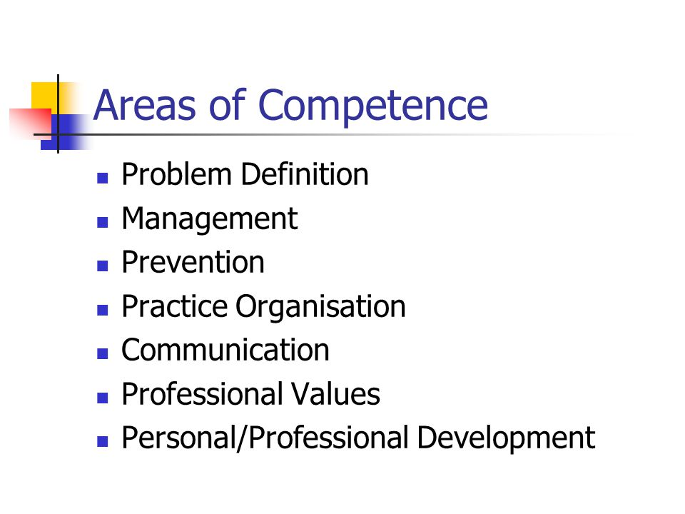 Areas of Competence Problem Definition Management Prevention Practice Organisation Communication Professional Values Personal/Professional Development